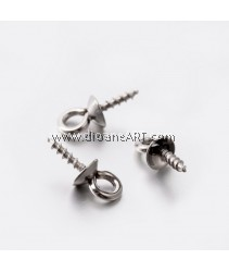 Screw Eye Bail, 304 Stainless Steel, Stainless Steel Color, 10.5x4mm, Hole: 2mm, Pin: 1.5mm, 6 pcs/pack