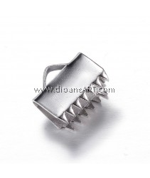 Ribbon Ends, 304 Stainless Steel, Stainless Steel Color, 10x11x6mm, Hole: 3x2mm, 10 pcs/pack