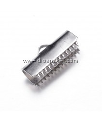 Ribbon Ends, 304 Stainless Steel, Stainless Steel Color, 10x20x6mm, Hole: 3x1.5mm, 10 pcs/pack