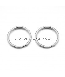 Split Key Ring Clasps, 304 Stainless Steel, Steel Colour, 28x1.6mm, 6 pcs/pack