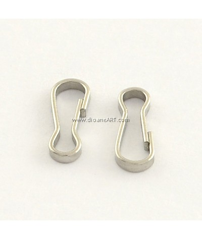 Key Clasps, 304 Stainless Steel, Stainless Steel Color, 9x3x1mm, 30 pcs/pack