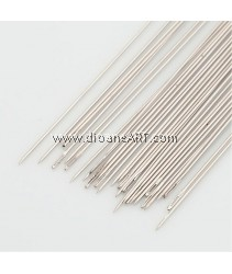 Beading Needles, Darning Needles, Nickel Color, about 0.45mm thick, 120mm long, 25 pcs/pack