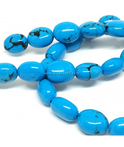 Natural Sinkiang Turquoise Oval Bead Strands, Cyan, 14x10mm, Hole: 1mm, Sold by per Strand