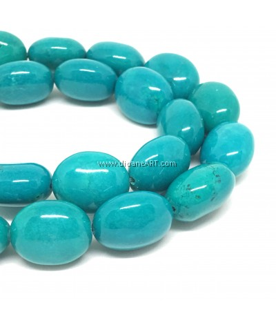 Natural Sinkiang Turquoise Oval Bead Strands, 18x15mm, Hole: 1mm, Sold by per Strand