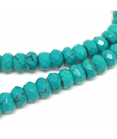 Natural Sinkiang Turquoise Faceted Abacus Bead Strands, MediumTurquoise, 6x4mm, Hole: 1mm, Sold by per Strand