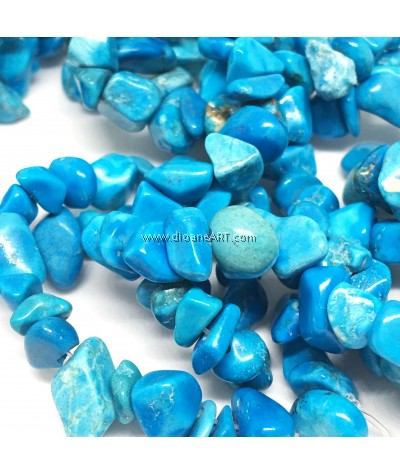Natural Green Turquoise Stone Bead Strands, Chip, 4~10x4~6x2~4mm, Hole: 1mm, Sold by per strand