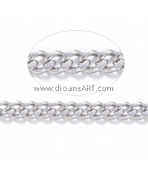 Curb Chains, 304 Stainless Steel, Unwelded, Stainless Steel Color, 3x2x0.6mm, 1 meter