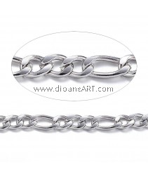 Figaro Chains,304 Stainless Stee,l Unwelded, Stainless Steel Color, 4~6x3x0.8mm, 1 meter