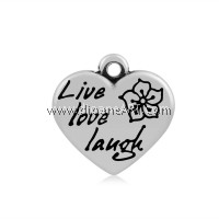 Heart with Word Live Love Laugh Pendant, 316 Stainless Steel, Antique Silver colour, 16x16.5x4mm, Hole: 2mm, 1/pack
