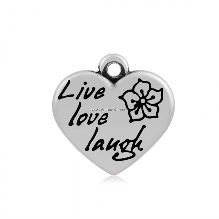 Heart with word live love laugh pendant 316 stainless steel heart with word live love laugh pendant 316 stainless steel antique silver colour 16x165x4mm hole 2mm 1pack aloadofball Gallery