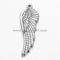 Wing Pendant, 304 Stainless Steel, Stainless Steel Color, 38.5x13x3mm, Hole: 1.8mm, 2/pack