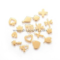 Charm, Mixed Shapes, 304 Stainless Steel, Golden, 6~13.5x3~11.5x0.8~1.5mm, Hole: 1~1.2mm, 5/pack