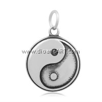 Flat Round with YinYang Pendant, 316 Stainless Steel, Antique Silver colour, 23x19.5x3.5mm, Hole: 5mm, 1/pack