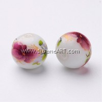 Flower Picture Glass Beads, Round, PaleVioletRed, 12x11mm, Hole: 1.5mm, 6/pack