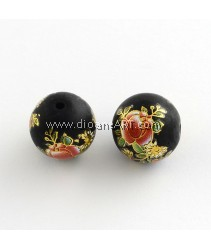 Flower Picture Frosted Glass Round Beads, with Gold Metal Enlaced, DarkOrange, 14x13mm, Hole: 1.5mm, 2/pack