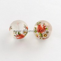 Flower Picture Frosted Transparent Glass Round Beads, DarkOrange, 14x13mm, Hole: 1.5mm, 2/pack